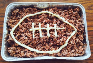 Football rice kris pie treat recipe | bexbernard.com
