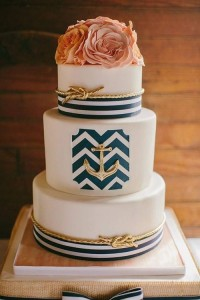 nautical cake anchor coral flowers