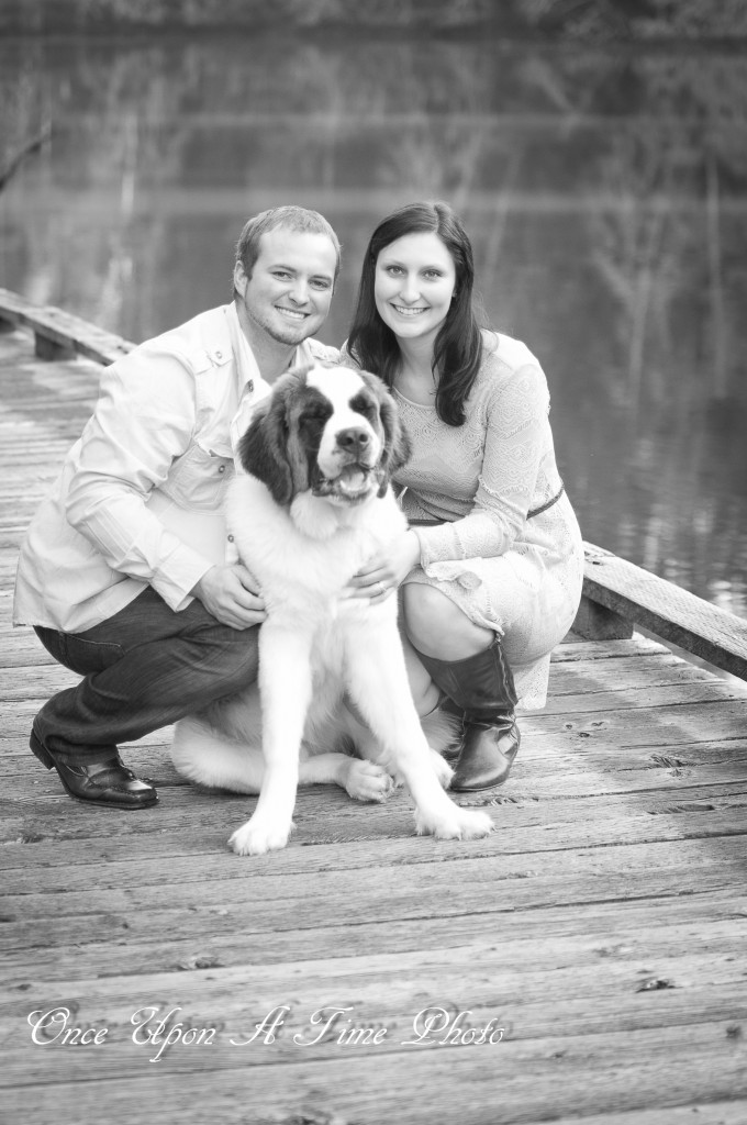 St. Bernard Dog Engagement Photos by the water on bridge