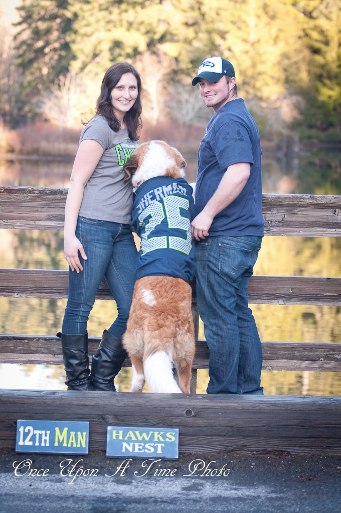 Seahawks Sherman St. Bernard Dog Engagement Photos