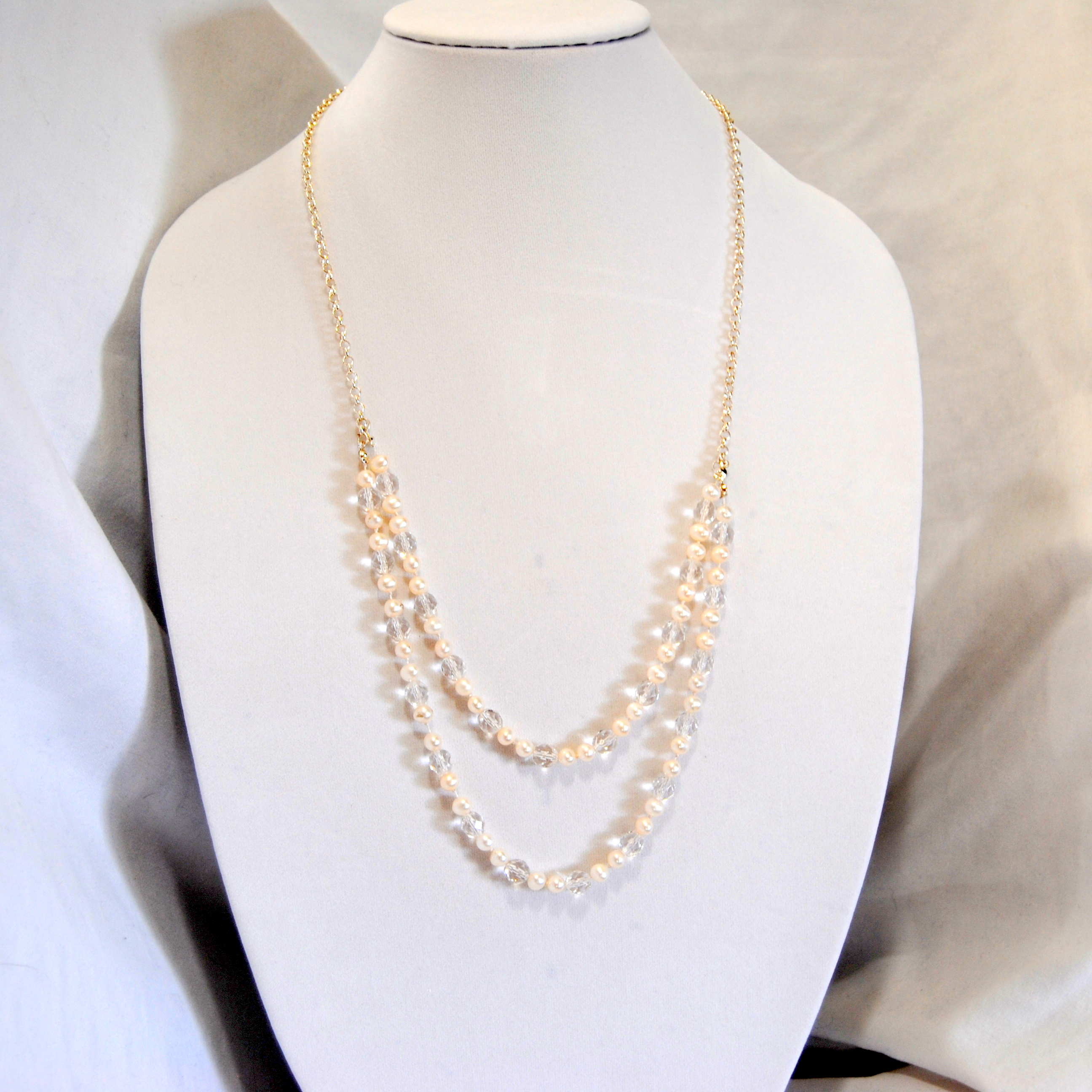 two strand white pearl necklace with clear firepolished beads | bexbernard.com