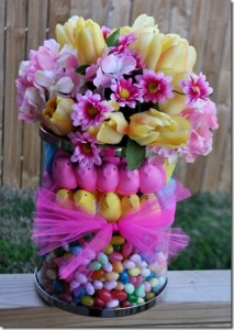 EASTER PEEP_floral arrangement | bexbernard.com diy crafts via autocrat