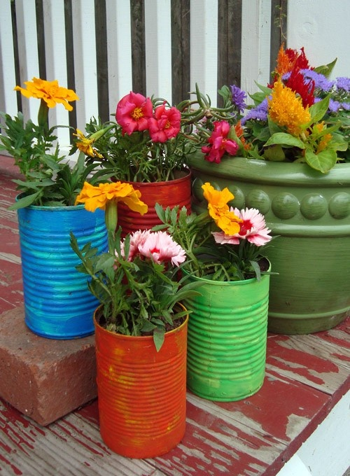 colorful tin can flower pots garden backyard recycle upcycle repurpose | bexbernard.com