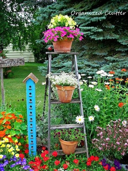 potted plants on ladder - garden backyard art repurpose recycle upcycle | bexbernard.com
