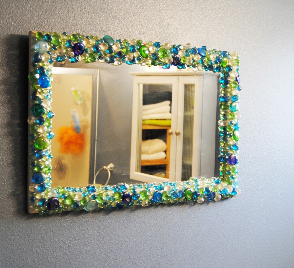 gemstone mirror upcycled home decor for bathroom diy hot glue stones to frame - Decorate Mirror Frame