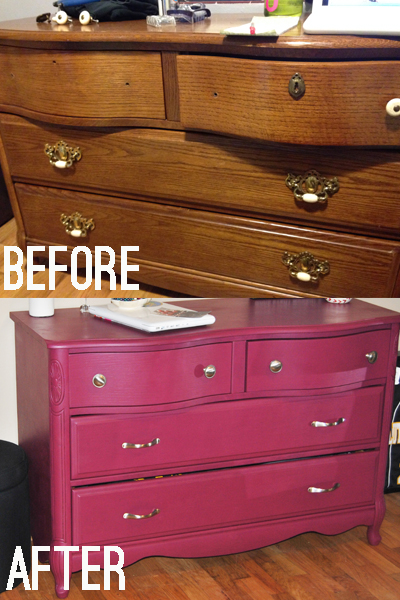Diy dresser nightstand makeover sangria colored paint for Furniture movers seattle