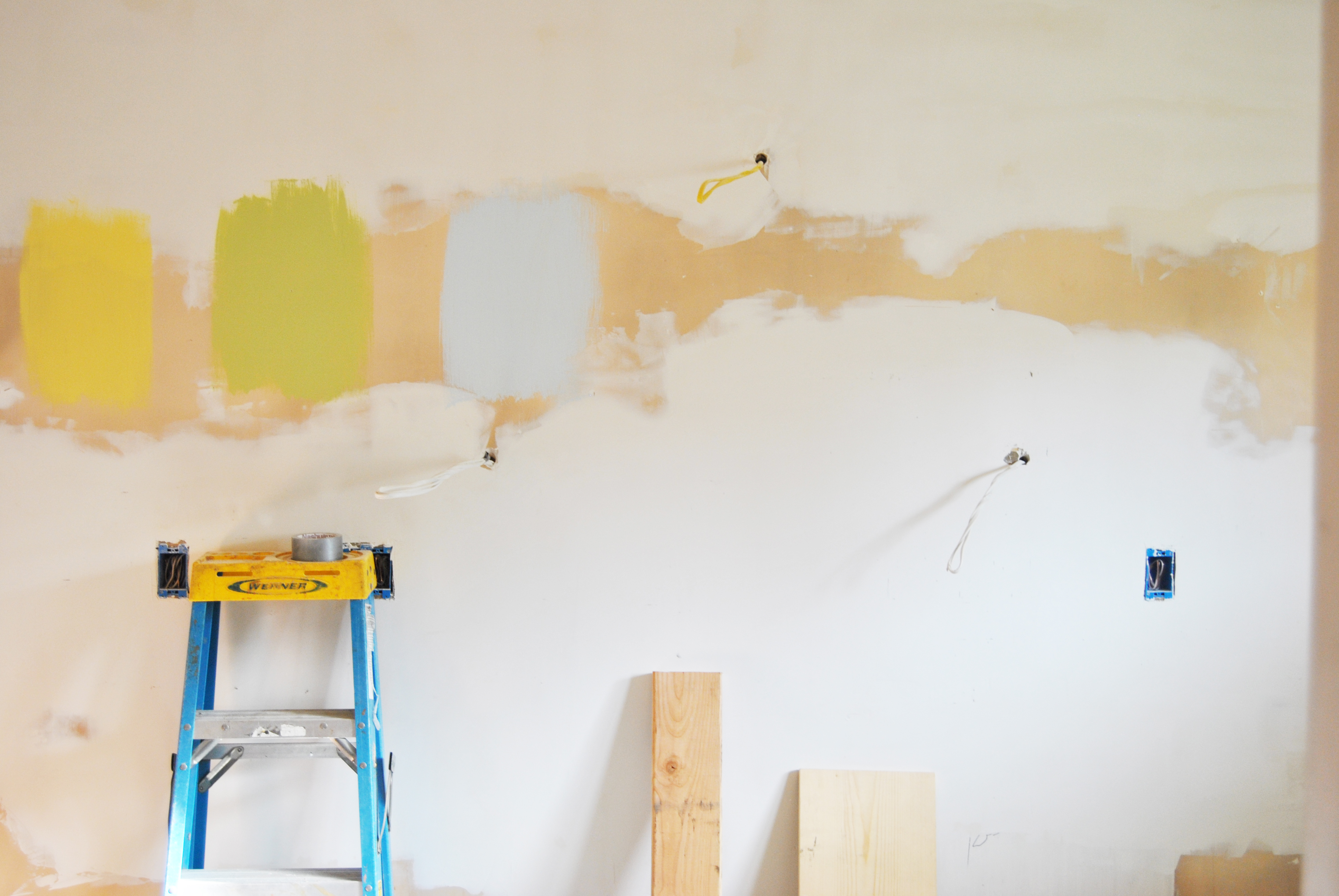 kitchen remodel, demo, drywall ready to be painted blue green or yellow?| bexbernard.com