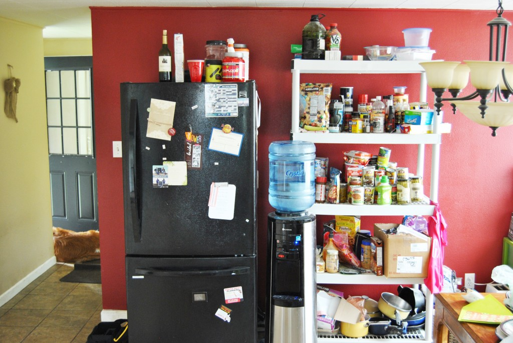 how to create a temporary kitchen during remodel. fridge shelves water | bexbernard.com