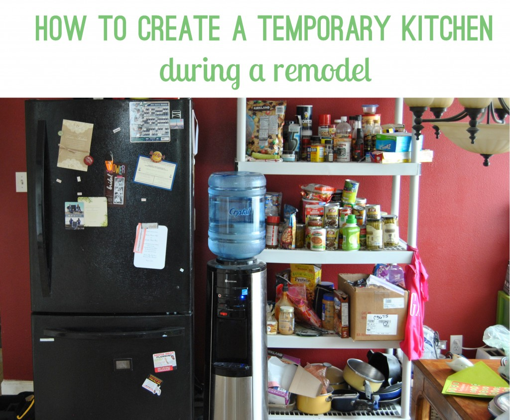 how to create a temporary kitchen during remodel.  storage, crock pot, fridge, microwave | bexbernard.com