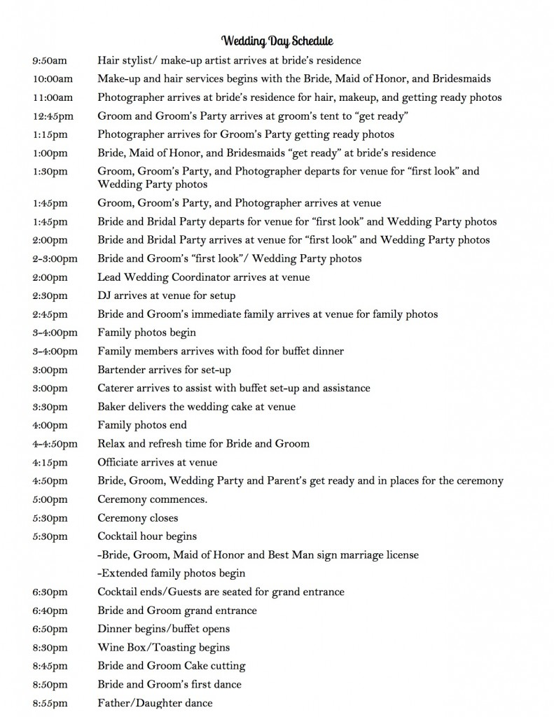 Wedding Day Schedule to keep your day running smoothly. Use this wedding timeline as a sample and tailor it to meet your needs. Planning your own wedding? Use this to create your wedding schedule. | bexbernard.com