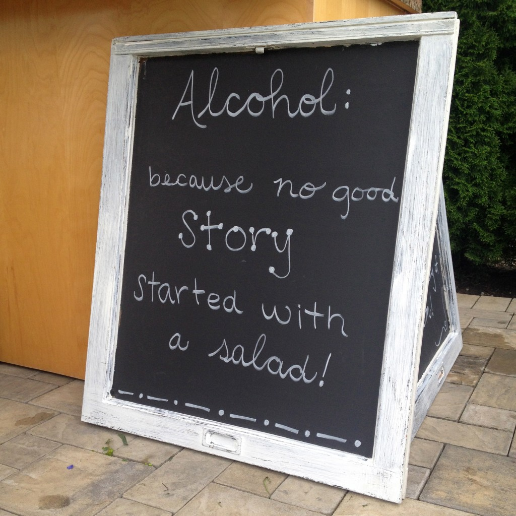 3 wedding chalkboard ideas. Writing on it says- Alcohol: because no good story started with a salad | www.bexbernard.com
