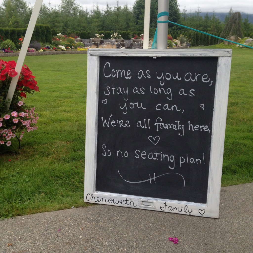 3 wedding chalkboard ideas. Rehearsal sign says- Come as you are, stay as long as you can, we're all family here, so no seating plan!