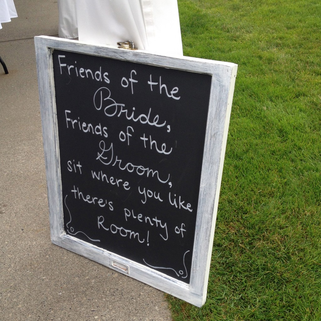 3 wedding chalkboard ideas. Ceremony sign says- Friends of the Bride, Friends of the Groom, sit where you like, there's plenty of room | www.bexbernard.com