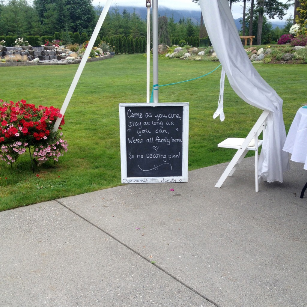3 wedding chalkboard ideas. Reception sign says- Come as you are, stay as long as you can, we're all family here, so no seating plan!