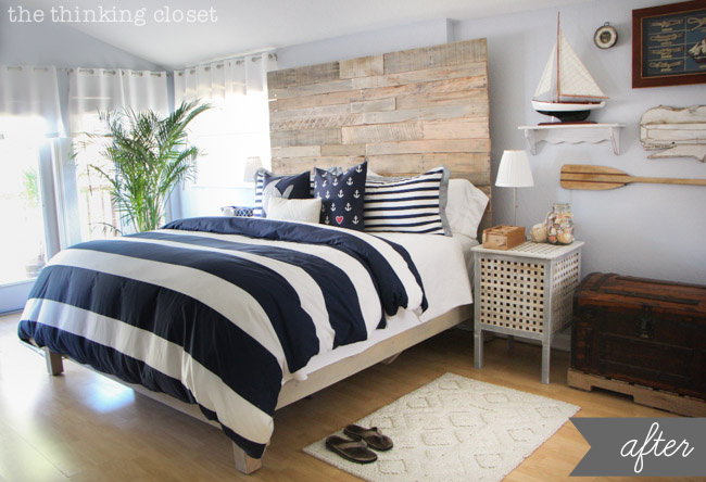 nautical bedroom decor! home makeover, home improvement with style. blue and white stripe comforter, reclaimed pallet headboard, ikea nightstands, ship wall art. http://www.thinkingcloset.com/2014/02/04/nautical-master-bedroom-makeover-how-we-found-our-shared-style/