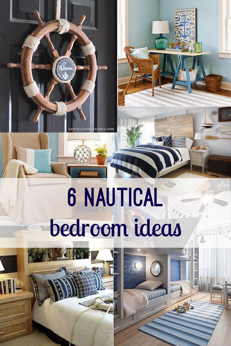 Nautical Bedroom Ideas from @Pinterest and @thinkingcloset. Anchors, ship helms, blue and white strips, rope, glass floats, and ships! www.bexbernard.com
