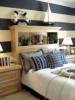 Nautical Bedroom Decor! Home Makeover, Home Improvement With Style. Blue  And White Striped