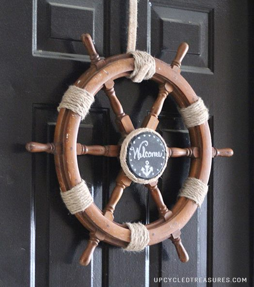 nautical bedroom decor! home makeover, home improvement with style. ship helm wreath http://upcycledtreasures.com/2013/06/upcycle-ship-helm-into-nautical-wreath/