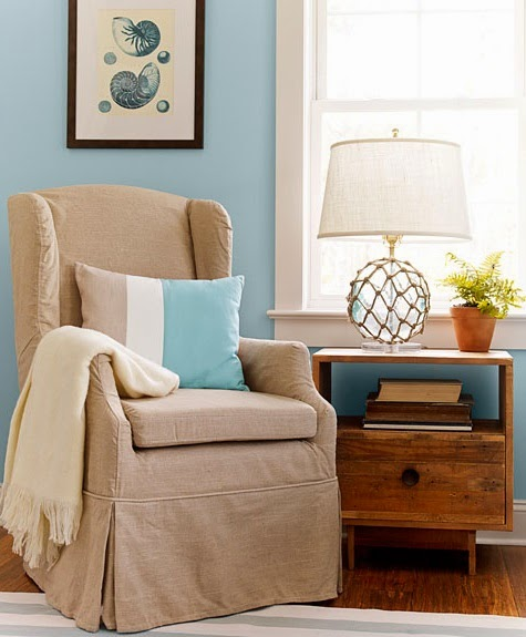 nautical bedroom decor! home makeover, home improvement with style. glass float lamp, cozy chair. http://www.completely-coastal.com/2014/10/blue-nautical-bedroom-suite.html