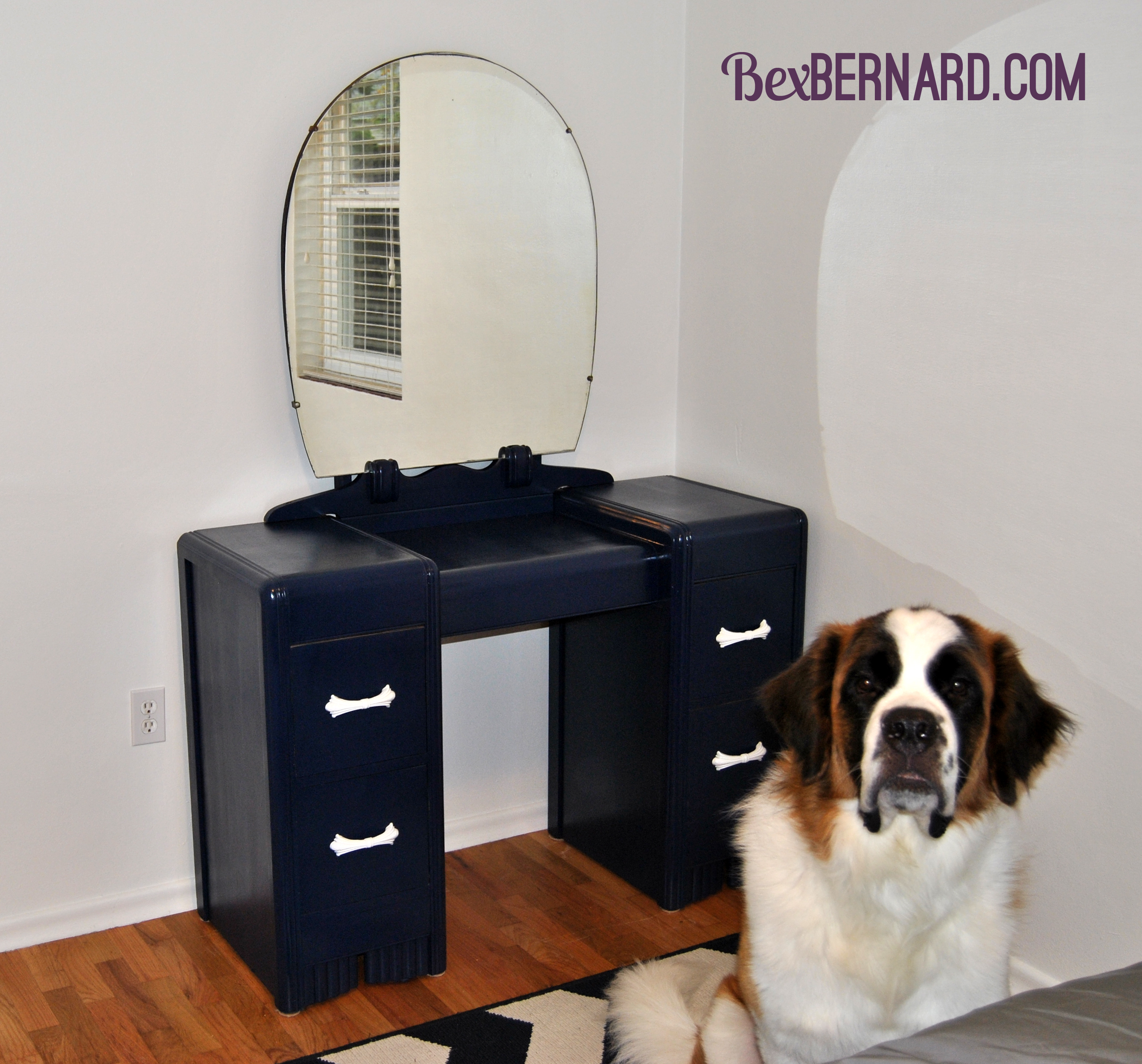 how to refinish wood furniture. diy paint vanity, desk, dresser for blue and white nautical room. | bexbernard.com