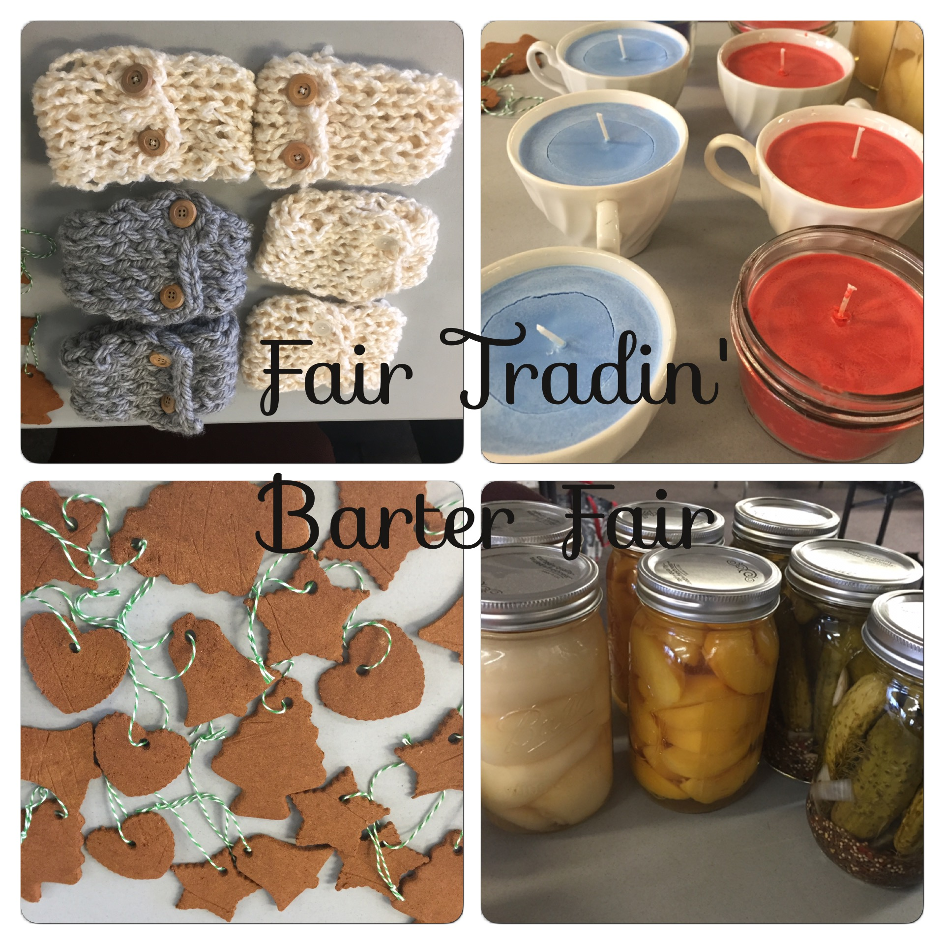 barter craft fair. boot cuffs, soy candles, cinnamon christmas ornaments, and canned food.   www.bexbernard.com