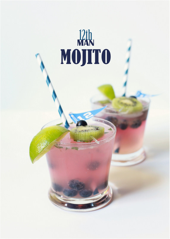 12th man mojito| football cocktail or game day. seahawks alcohol drink