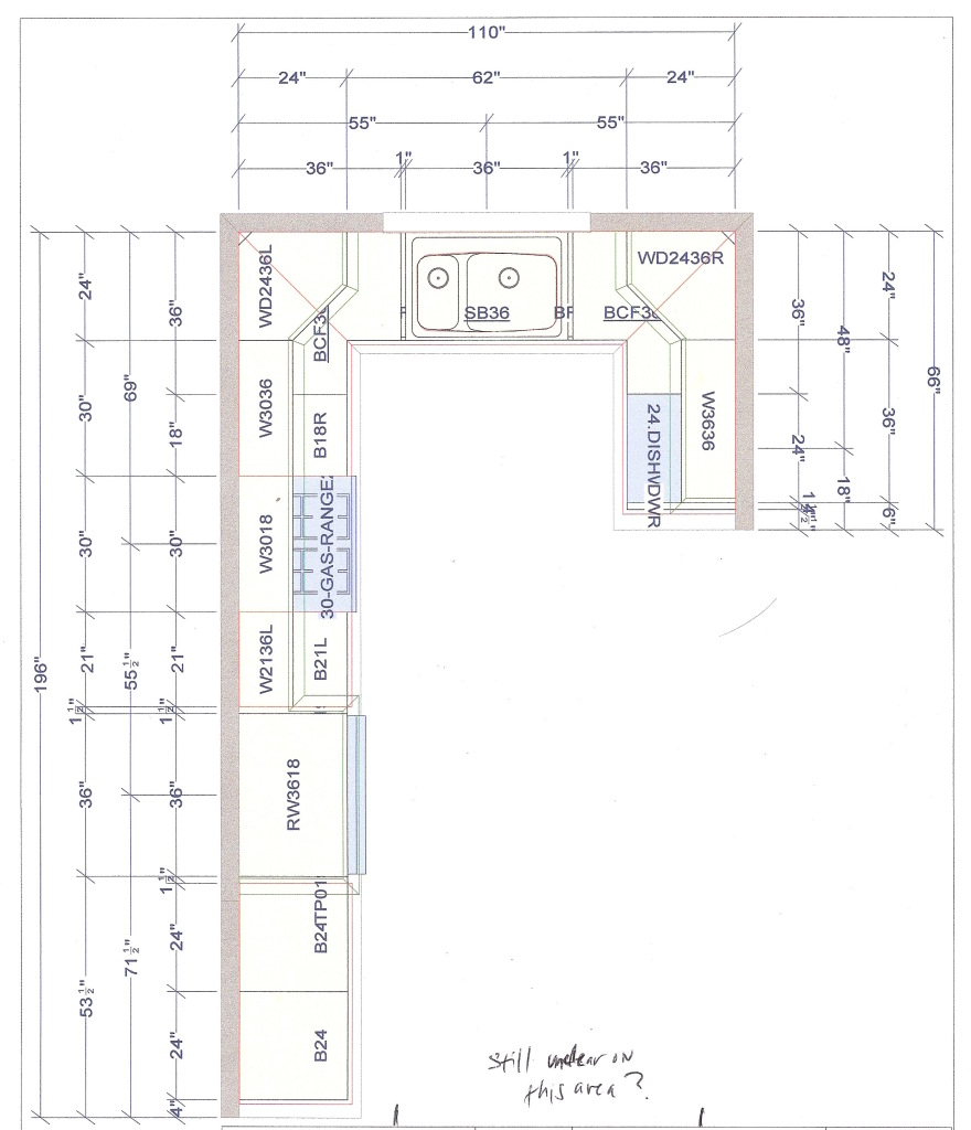 Kitchen plan and layout - Lshaped Kitchen Layout With Perpendicular Dishwasher Bexbernard