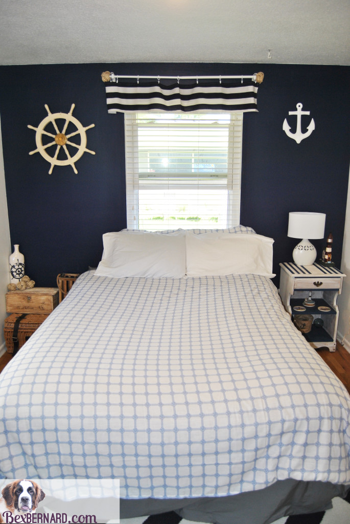 nautical themed bedroom makeover using blue and white home decorations