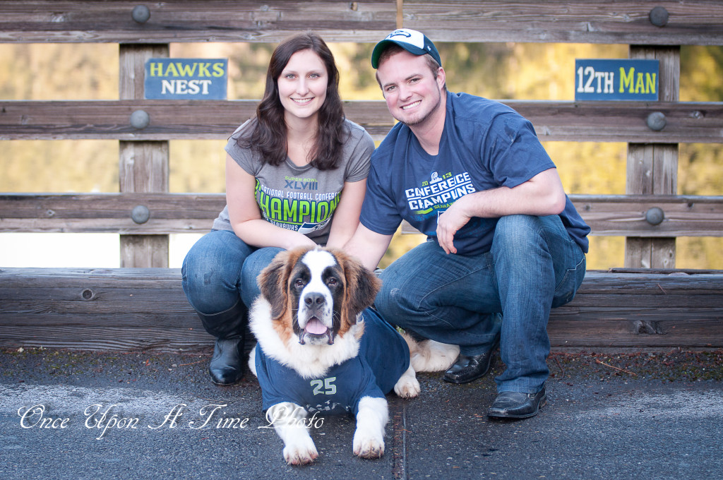 football engagement photos of couple with dog. Seattle Seahawks | bexbernard.com