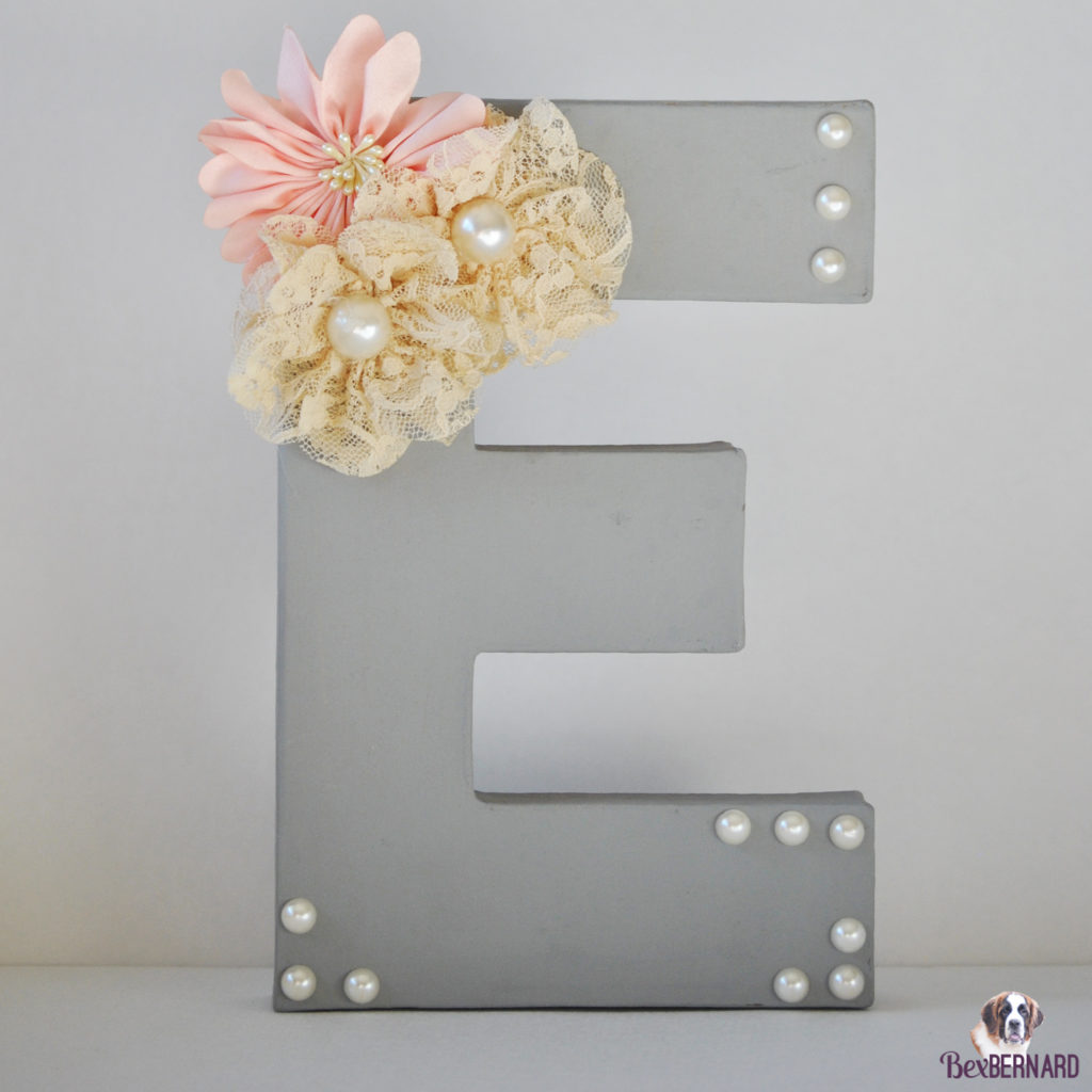 E with pearls and flowers. Homemade baby shower gift | bexbernard.com