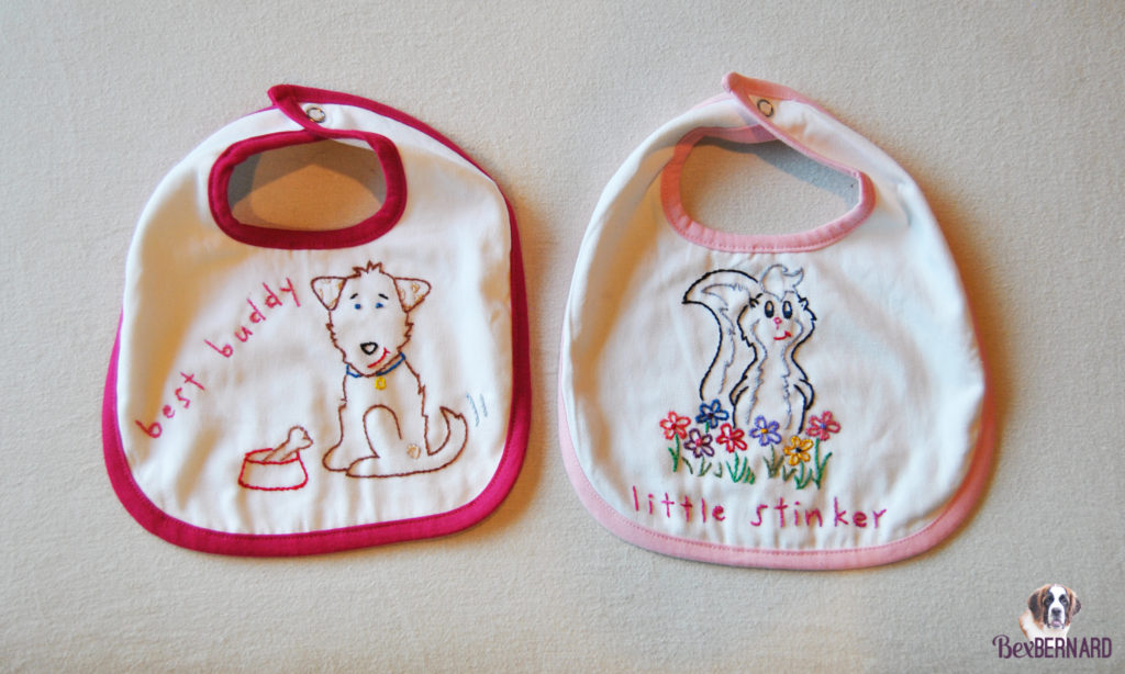 dog (best buddy) and skunk (little stinker) bibs. Homemade baby shower decorations | bexbernard.com