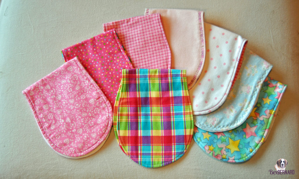 pink girl burp cloths. Homemade baby shower decorations | bexbernard.com