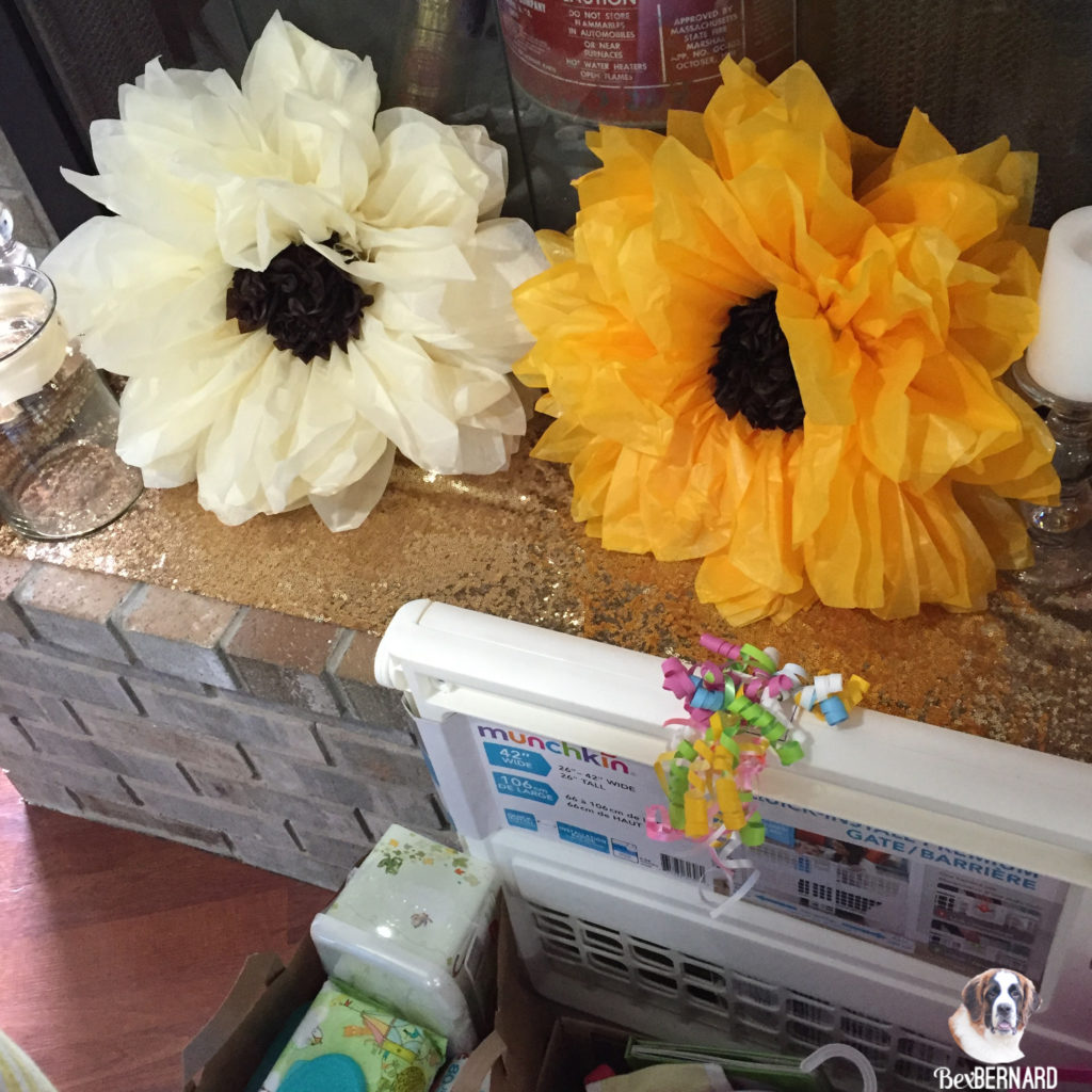 Tissue paper sunflower and white flower. Homemade baby shower decorations | bexbernard.com