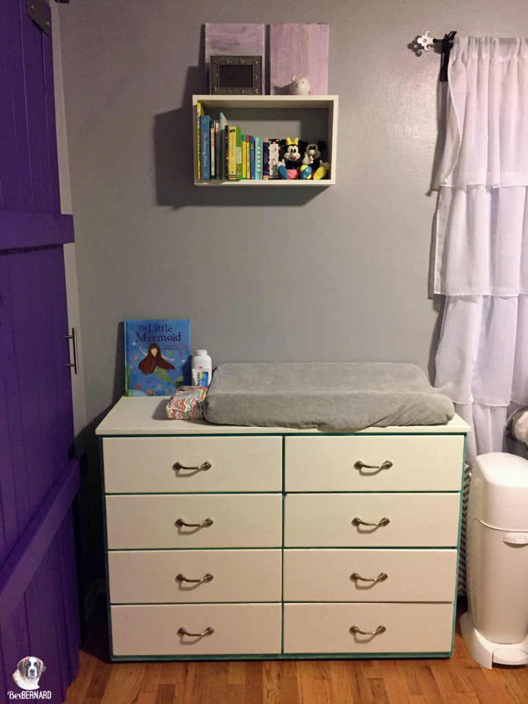 mermaid theme nursery. changing station on dresser. | bexbernard.com