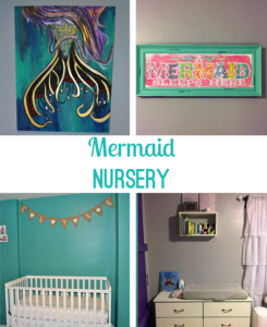 Mermaid theme nursery with white crib, wall art, sliding barn door, and wire closet shelving. Colors: gray, teal, and purple.| bexbernard.com