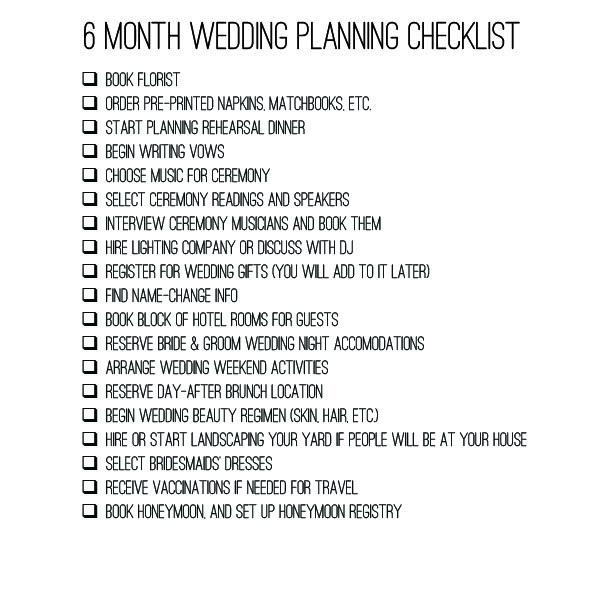 Wedding Checklist Six Months