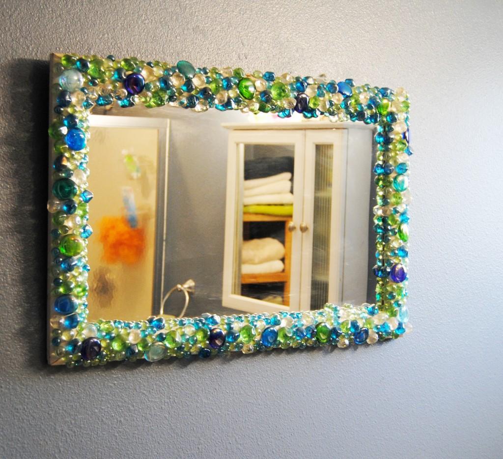Gemstone Mirror Upcycled Home Decor For Bathroom Diy Hot Glue Stones To Frame