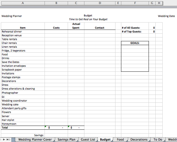 digital wedding planner - editable excel file